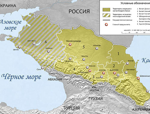 "Map of ""Imarat Kavkaz"". Photo: Alfer1002, http://commons.wikimedia.org/"