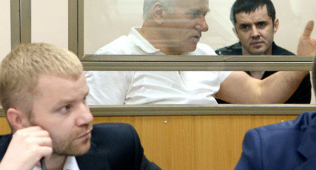 "Said Amirov (to the left) and Yusup Djaparov, defence is in the front of the courtroom. Rostov-on-Don, May 13, 2014. Photo by Oleg Pchelov for the ""Caucasian Knot"""