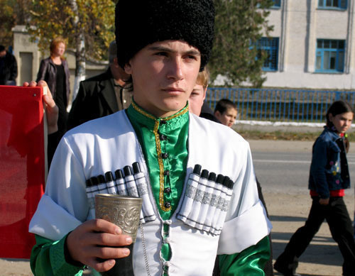"A Circassian wearing a national costume. Karachai-Cherkess, Habez aul, Habez recreation center opening day. Photo by the ""Caucasian Knot"""