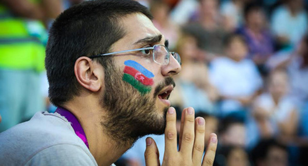 "One of the supporters in the First European Games in Baku. Photo by Aziz Karimov for the ""Caucasian Knot"""