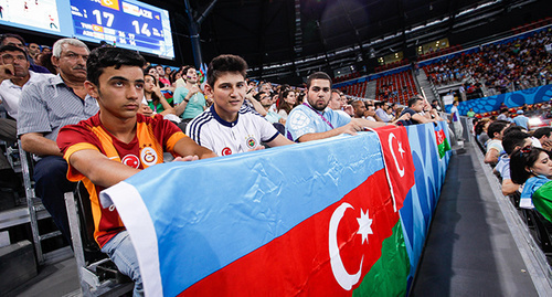 "The spectators with the Azerbaijani  flag at the I European Games. Baku, June 2015. Photo by Aziz Karimov for the ""Caucasian Knot"""