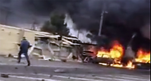 Explosion at the Djemikent traffic checkpoint. Sreenshot from the video 'Djemikent checkpoint' posted by user Georgy Kapylov, https://www.youtube.com/watch?v=wWXN5aQ4JZg