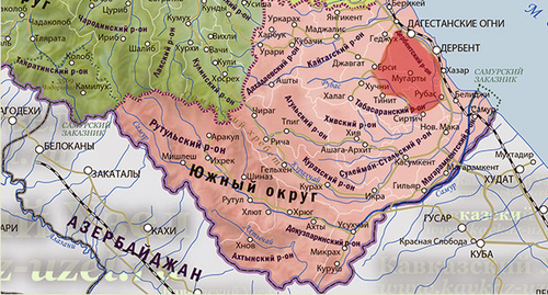 Derbent District of Dagestan. Map of the 'Caucasian Knot'.