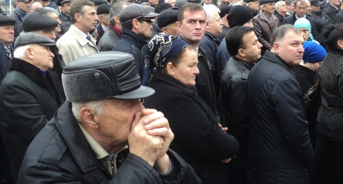"The participants of the mourning rally in Nalchik. March 8, 2016. Photo by Lyudmila Maratova for the ""Caucasian Knot"""