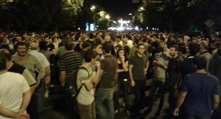 "The participants of the protest action in Yerevan on July 30, 2016. Photo by Tigran Petrosyan for the ""Caucasian Knot"""