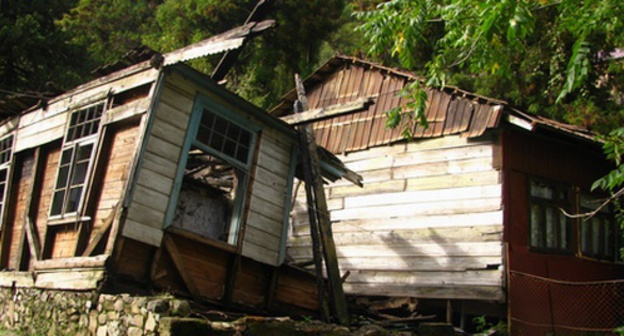 "A half-demolished house in the mountainous village of Makhuntseti in Adjaria. Photo by Yuliya Kasheta for the ""Caucasian Knot"""