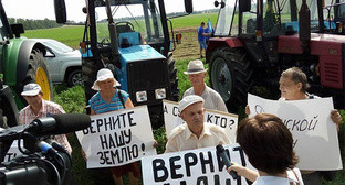 Kuban farmers at the rally during their tractor march to Moscow. Photo: https://twitter.com/melnichenko_va