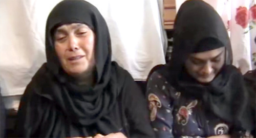 Patimat Alieva (left) – mother of killed shepherds. Screenshot of the video by Kavpolit 'Patimat Alieva – mother of shepherds killed in Dagestan', https://www.youtube.com/watch?v=D1bczbZoZN4