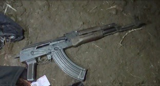 A submachine gun used by the suspects killed in the village of Stalskoe, law enforcers believe. Photo: 05.мвд.рф