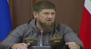 A meeting with the heads of the districts and cities, and the commanders of the Ministry of Internal Affairs units of Chechnya. Photo: screenshot of a video https://vk.com/ramzan