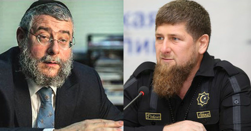Pinchas Goldschmidt (left) and Ramzan Kadyrov. Collage prepared by the 'Caucasian Knot', http://chechen.er.ru, Conference of Rabbis of Europe.