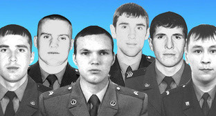 "Corporal Zaurbek Akbiev, Senior Sergeant Anatoly Ermolaev, Junior Sergeant Dmitri Gurat, Private Arsen Ramazanov, Senior Sergeant Amin Aliev, Junior Sergeant Ildus Kuchukbaev, the servicemen of the National Guard killed in Chechnya. Collage by ""Caucasian Knot"". Photo http://rosgvard.ru"