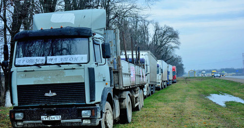 "The truckers' protest action against the ""Platon"" system in Kuban. Photo https://golos-kubani.ru/"