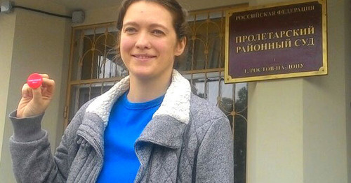 Elena Kulikova after court session. Photo by Konstantin Volgin for the 'Caucasian Knot'.