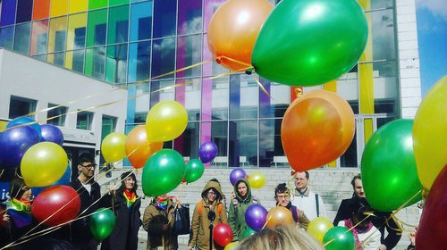 "A Rainbow Flashmob dedicated to the May 17th, the International Day against Homophobia and Transphobia. Photo: the group of the ""Russian LGBT Network"" in ""VKontakte"" https://vk.com/lgbtrussia?z=photo-497578_456239938%2Falbum-497578_00%2Frev"