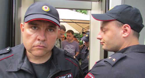 "The police officers at the rally of  Navalny's supporters in Krasnodar. Photo by Vyacheslav Yaschenko for ""Caucasian Knot"""