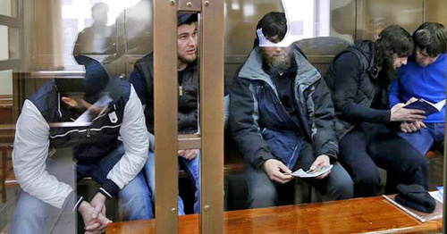 The defendants in the case of Boris Nemtsov's murder in the courtroom. Photo: REUTERS/Maxim Zmeyev