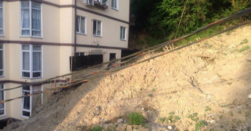 "Landslide puts a house in Sochi at risk of collapsing. Photo by Svetlana Kravchenko for ""Caucasian Knot"""