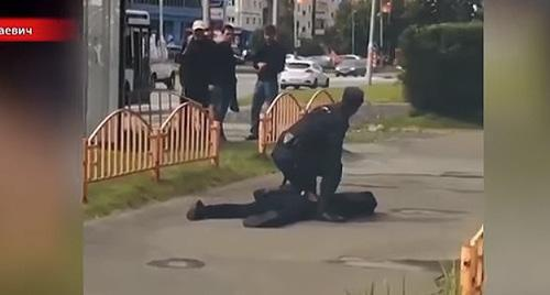 At the site of terror act in Surgut. Screenshot of video: https://www.youtube.com/watch?v=kxrd-NF9rfE