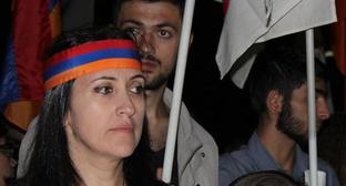 "Ruzanna Egnukyan at the rally in support of the ""Sasna Tsrer"" detachment on September 9, 2016. Photo by Armine Martirosyan for ""Caucasian Knot"""