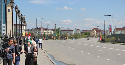 "Putin Avenue. Grozny. Photo by Magomed Magomedov for ""Caucasian Knot"""
