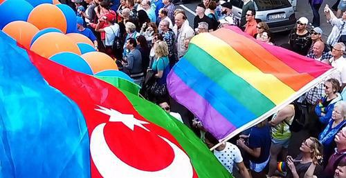 Flags of Azerbaijan and LGBT. Photo by Ghvinotsdaati, Wikimedia Commons