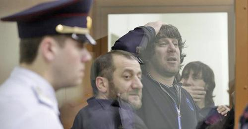 Khamzat Bakhaev, Tamerlan Eskerkhanov and Zaur Dadaev (from left to right) in the courtroom. Photo: REUTERS/Tatyana Makeyeva