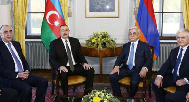 Ilham Aliev and Serzh Sargsyan at the meeting in Geneva. Photo: administration of the President of Azerbaijan