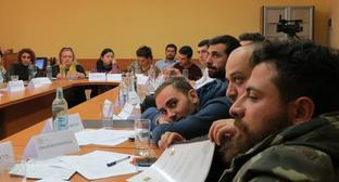 "A seminar for young journalists ""Journalist as an objectivity pillar in online and offline war situation"", organized by the ""Champord"" (Traveller) Armenian Foundation. Stepanakert, Nagorno-Karabakh. November 18, 2017. Photo by Alvard Grigoryan for the ""Caucasian Knot"""