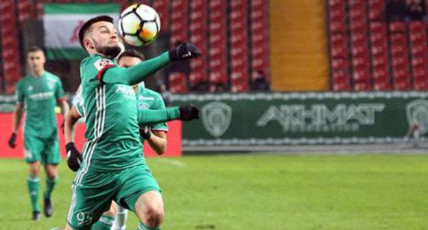 "A player of the FC ""Akhmat"" Grozny. Photo by the press service of the FC ""Akhmat"" http://fc-akhmat.ru/page/9198"