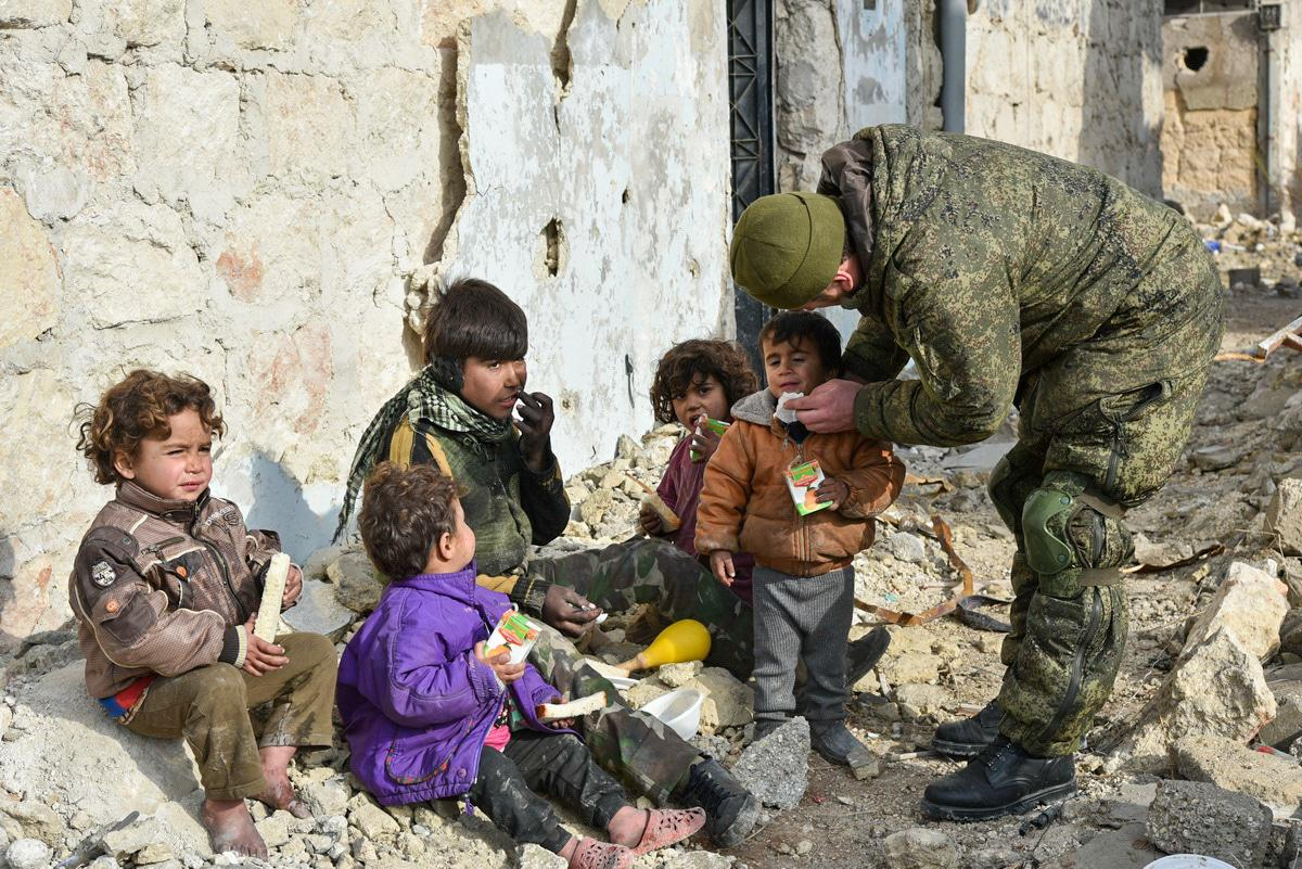 Children in Aleppo (Syria). Photo by Russia's Ministry of Defence, mil.ru