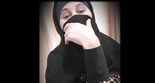 Screenshot of a Chechen woman's video appeal to Ramzan Kadyrov published on ANTI MASSACRE KADYROV YouTube Channel.
