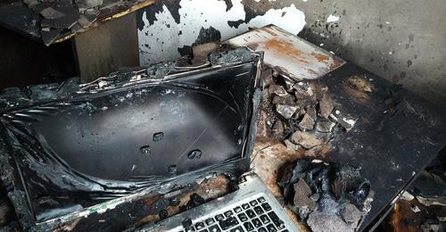 "Arson in the office of the Human Rights Centre ""Memorial"" in Ingushetia after fire. Photo by the 'Caucasian Knot' correspondent."