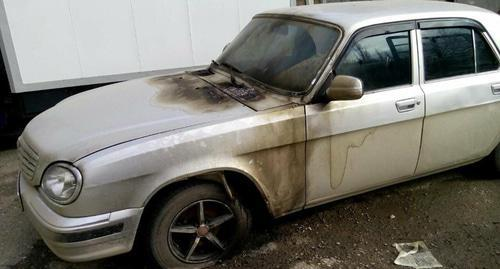 "The HRC ""Memorial"" car set on fire after Oyub Titiev's advocate had driven it in Makhachkala on January 20th. Photo: Yekaterina Sokiryanskaya's personal page on Facebook https://www.facebook.com/ekaterina.sokirianskaia"