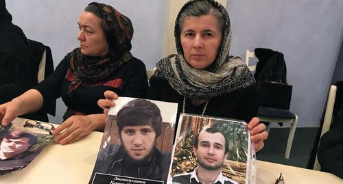 "Mothers, whose sons had disappeared in Dagestan, have appealed to the acting head of the republic Vladimir Vasiliev and Russian President Vladimir Putin with a demand to investigate the disappearance of their sons. Photo by Patimat Makhmudova for the ""Caucasian Knot"""