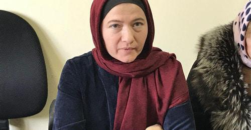 "Napisat Magomedova, mother of Islam Magomedov at a press conference in Makhachkala. February 8, 2018. Photo by Patimat Makhmudova for the ""Caucasian Knot"""