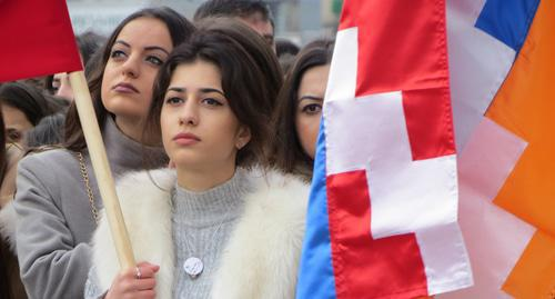 Participant of a march on the occasion of the 30th anniversary of the Karabakh liberation movement, Nagorno-Karabakh, February 13, 2018. Photo by Alvard Grigoryan for the Caucasian Knot.