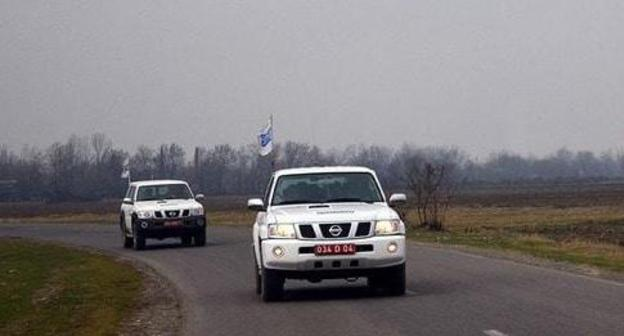 A car of the OSCE mission in the Karabakh conflict zone. Photo by the press service of the Azerbaijani Ministry of Defence https://mod.gov.az/ru/news/monitoring-zavershilsya-bez-incidentov-21727.html