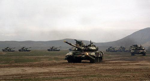 Military exercises involving tanks and aviation units in Azerbaijan. Photo: press service of Azerbaijani MoD.