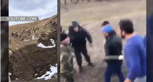 "A mass brawl of the villagers of Chuni and Tsukhta. Screenshot of the video by the ""Caucasian Knot"" https://www.youtube.com/watch?v=fn6Vihx4psc"
