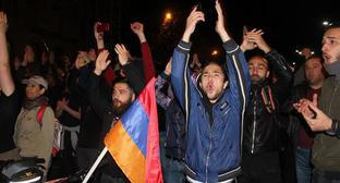 "Activists opposing the election of Serzh Sargsyan the Prime Minister of Armenia in the square in Yerevan. Photo by Tigran Petrosyan for the ""Caucasian Knot"""