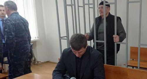 "Oyub Titiev in the courtroom. Photo: press service of HRC ""Memorial"""