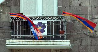Symbol of Armenia Genocide, flags of Armenia and Nagorno-Karabakh. Photo by Alvard Grigoryan for the Caucasian Knot.