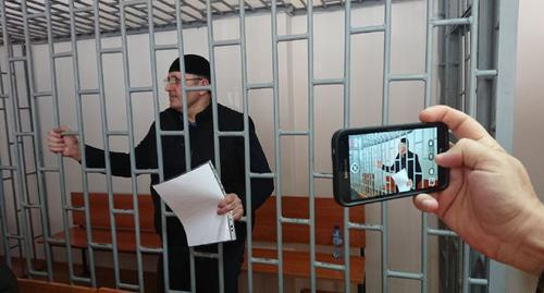 "Oyub Titiev in the court room. Photo by the Human Rights Centre ""Memorial"""