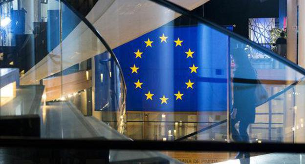 The flag of the European Union (EU) in the European Parliament. Photo: Flickr/ European Parliament