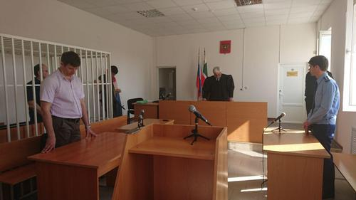 "The judge gives a verdict in Oyub Titiev's case on May 24, 2018. Photo by the Human Rights Centre ""Memorial"""
