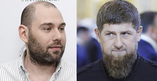 "Ramzan Kadyrov (on the right) and Semyon Slepakov. Collage by the ""Caucasian Knot"". Photo: Sputnik/Mikhail Metzel/Pool via REUTERS Westpress Kaliningrad archive, image # / Alexandr Podgorchuk wikipedia.ru"