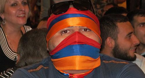 Participant of protest rallies in Yerevan. Photo by Tigran Petrosyan for the Caucasian Knot