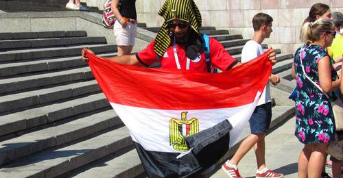 "An Egyptian football fan. Volgograd, June 25, 2018. Photo by Vyacheslav Yaschenko for the ""Caucasian Knot"""