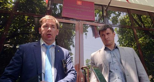 "Titiev's advocates Novikov and Zaikin at the Shali City Court. Photo is provided by HRC ""Memorial""."